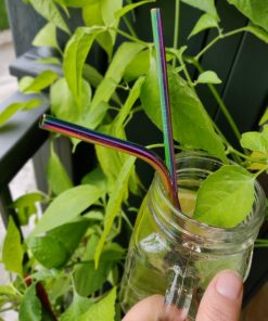 Stainless steel straws, rainbow